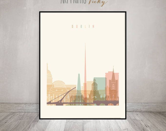 Dublin print, Poster, Wall art, Ireland cityscape, Dublin skyline, City print, Typography art, Home Decor, Travel decor, ArtPrintsVicky