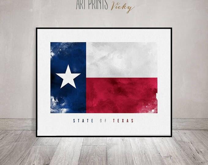 Texas state flag, wall art, art print, American flag painting poster, United States flag, travel print, gift, home decor ArtPrintsVicky