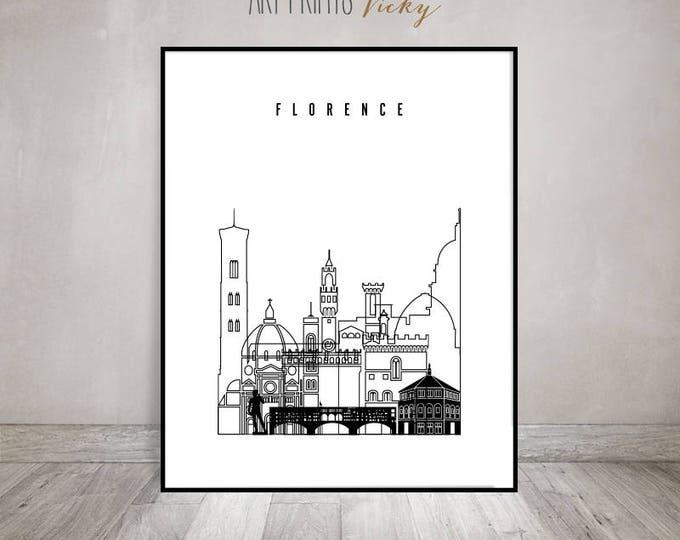 Florence art print, wall art, minimalist black & white poster, Italy cityscape, travel decor, city prints, Home Decor, Gift, ArtPrintsVicky