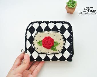English Rose Mini Zipper Purse, Mini Wallet, Bi-fold Wallet, Organizer Wallet, Zipper Wallet, Small Wallet - Made to Order