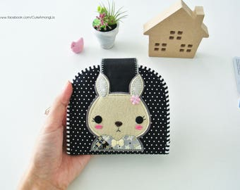 Adorable Rabbit Card Holder Wallet, Bi-fold Wallet, Organizer Wallet, Keychain Wallet, Fold Over Wallet, Change Purse, Gift for Her