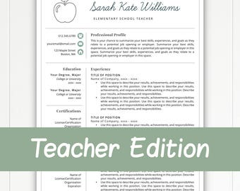 Teacher Resume Template For Word U0026 Pages, Teacher Template, Teacher CV,  Resume For  Resume Template For Teachers