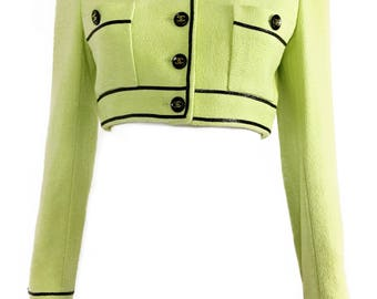 CHANEL Vintage Green Cropped Logo Button Bouclé Jacket RARE! sz FR 38 Blazer Suit