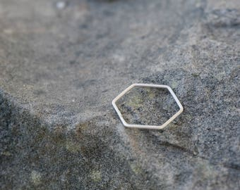 hexagonal minimal silver ring . geometric design, minimal simple ring, stacking ring, line design, honeycomb, hive, white or oxidized, hand