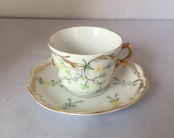 Vintage Art Nouveau 1920s 1930s 30s pretty decorative bone china cup and saucer