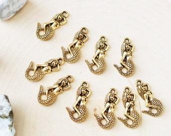 Set of 10, Gold Mermaid Charm, Antique Gold, MerMaid Charm, Jewelry Charm, Gold Charm, Ocean Charm, Sea Charm, Mermaid Charms,
