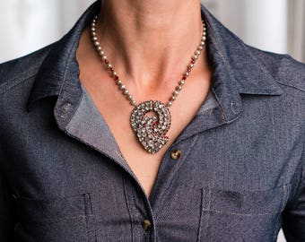 Upcycled, one-of-a-kind, vintage rhinestone brooch necklace