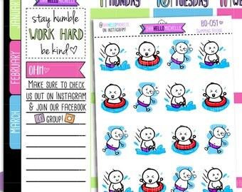 Swimming Day Beedoo  BD-051 | 16 Hand-drawn Planner Stickers