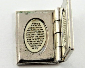 Mechanical Bible that Opens with The Lords Prayer Written Inside Sterling Silver Charm of Pendant.