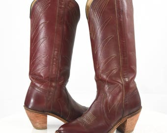 Vintage Women's 7 Deep Red Leather Cowboy Boots Cowgirl Boots Cordovan Colored