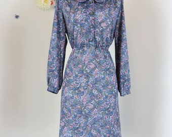 1960s Dress - Vintage Floral Day Dress - S/M - Long Sleeve - Midi - Full Skirt - Button Front With Collar - Shirt Dress - Office Appropriate