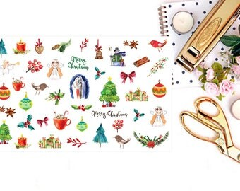 December Planner Stickers, Watercolor Christmas Stickers, Christmas Planner Stickers for Erin Condren, December Stickers for Happy Planner