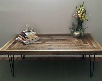 Reclaimed Coffee Table, Barnwood, Hairpin legs, Running Bond Pattern, 48 x 24, Rustic