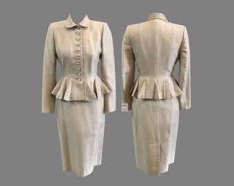 1950s Lilli Ann Lilli Annette Diminutive Silk Wool Suit Peplum Rhinestones XS S