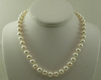 Cultured Freshwater White Pearl Necklace 14k Yellow Gold Clasp 17.5 Inches