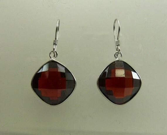 Garnet Earrings with Sterling Silver Setting