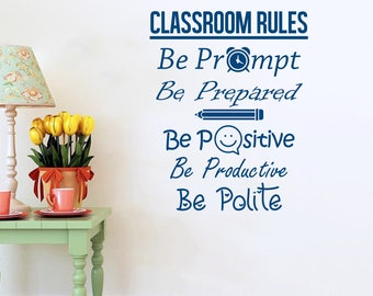 Back to School Wall Decal, Classroom Rules Wall Sticker, Student Quote Wall Decal, Nursery School Decor, Student Rules Motivating Decal