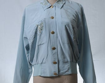 Vintage mint light weight print jacket with gold tone buttons