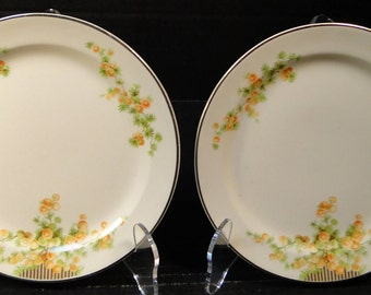 "TWO Taylor Smith Taylor Acacia Orange Floral Bread Plates 6 1/4"" 2 EXCELLENT!"