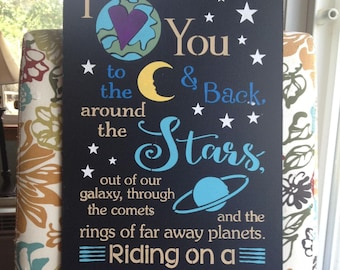 """Wood sign I Love You To the Moon and Stars 12""""x24"""" children's room wall art child's room wall decor baby's room decor wood sign rocket ship"""