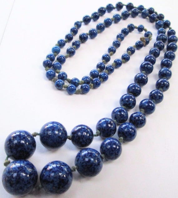 Stunning long vintage Deco hand knotted lapis glass bead necklace