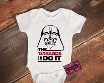 Glitter Baby Onesie - Darth Vader (The Darkside Made Me Do It)