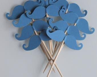 10 décorations moustaches couleur bleu roi pour petits gâteaux (cupcakes toppers )