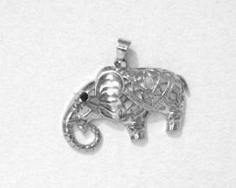 Antique Silver Hollow Elephant Pendant, Safari Jewelry, Elephant Necklace Pendant, Elephant Key Chain, Silver Elephant Pendant, Elephants