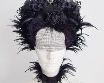ILE FEDERETTE - Gothic Headdress Feather Flowers Lace Elegant Headpiece