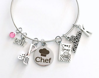 Culinary Graduation Bracelet, Chef Grad Jewelry, Student Gift Graduate Cooking 2017 or 2018 Silver Charm Bangle Cuisine Food Women Her Book