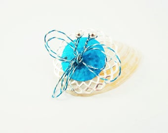 Brooch dragonfly, blue , silvery brooch, twisted wire, silvery metal pearls,blue and silvery support, unusual jewels .