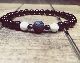 Black agate bracelet, Howlite Bracelet, Essential Oil Diffuser, Diffuser Jewelry, Lava Bracelet, Aromatherapy Jewelry