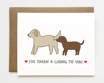 I like you card, Funny anniversary card, New relationship card, Dog card, Valentines card, Funny love card, Boyfriend Monthaversary card