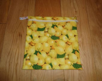 Sandwich bag  - Baggie - Eco - Snack Bag - Bikini Bag - Lunch Bag - Tool Bag - Large Poppins Waterproof Lined Zip Pouch  - Lemons