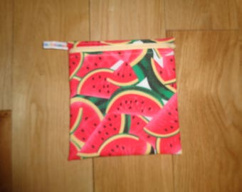 Snack Bag - Bikini Bag - Lunch Bag  - Zero Waste Medium Poppins Waterproof Lined Zip Pouch - Sandwich bag - Eco - Water Melon