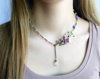 White Narcissus Necklace Bracelet White lilac jewelry Daffodil jewelry set Summer necklace Flower necklace Narcissus jewelry Gift for her
