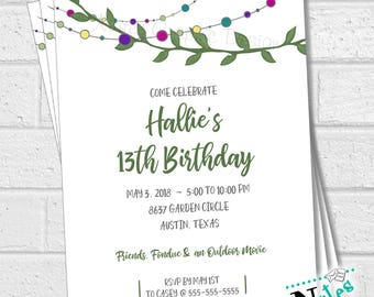 Greenery Birthday Invitation, Outdoor Birthday Invitation, Garden Party Invitation, 13th Birthday, 16th Birthday, 18th Birthday  | PRINTABLE