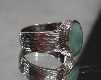Vintage Sterling Silver Emerald Ring Sz 5.25 M2