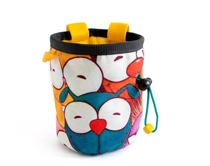 Custom Chalk Bag, Custom Made Chalk Bags Climbing, Custom Chalk Bags Rock Climbing, Unique Handmade In Funny Yellow Animals. Gym Bags
