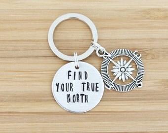 hand stamped keychain   find your true north