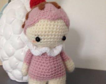 "Little Pixie Doll ""lutinou"" cupcake cherry kawaii amigurumi, cute decoration"
