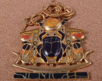 Egyptian Huge Hand Made Detalied Enameled Scarab Necklace