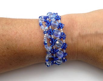 Sapphire blue woven bracelet, silver glass and Swarovski Crystal, chic glamour