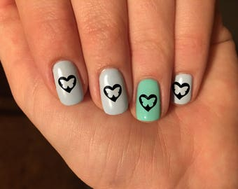 Butterfly Heart Nail Art Decals - Vinyl Nail Stickers