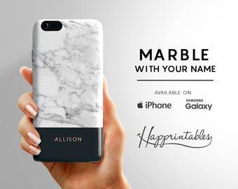 Custom Name Marble Phone case, iPhone 7, Phone SE, iPhone Plus, iPhone 6/6S, iPhone 5/5S - iPhone 5C, Samsung Galaxy S5, S6 Edge kawaii case