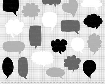 Speech Bubbles Clipart, Hand drawn Text Clouds Clipart, Black and White Digital Chat Bubbles, Thought Bubble, Conversation Bubble, Vector