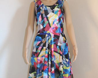 Multi Print Circle Skirt Dress