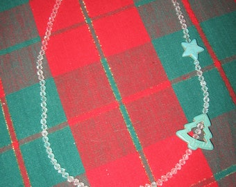 Turquoise Star and Christmas Tree With Crystal Accents Hand Crafted Necklace