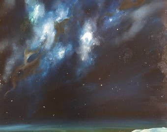 In Your Spiral Arms, Original Night Sky Seascape Oil Painting on Canvas