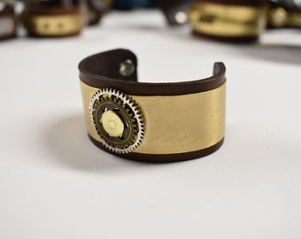 Leather and Brass steampunk inspired bracelet